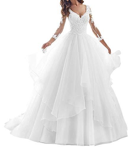 Hochzeitskleid Brautkleid V-Ausschnitt Damen Prinzessin Brautkleider A-Linie Langarm Weiß 40