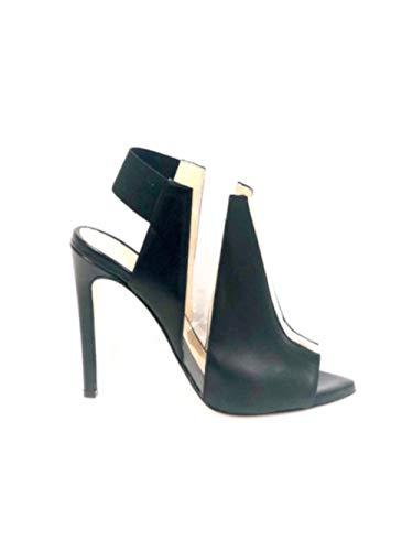 WO MILANO T54 - Sandalo Spuntato Donna Pelle e PVC Tacco 10 cm (39 - Nappa Nero)