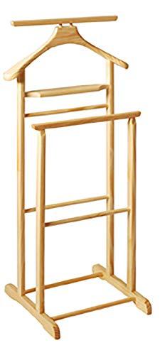 Haku Möbel Herrendiener - aus naturfarbenem Massivholz mit Hosenbügel Höhe 102 cm