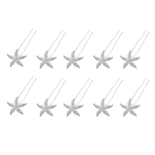 Frcolor Alfileres de pelo con forma de estrella de diamantes de imitación con diamantes en forma de U accesorios para el cabello con clip para el banquete de boda - 10 piezas