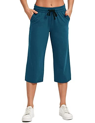 SPECIALMAGIC Women's Yoga Capris Lounge Pants Indoor Sweatpants Straight Wide Leg Crop Jersey Pants Ocean Blue XL