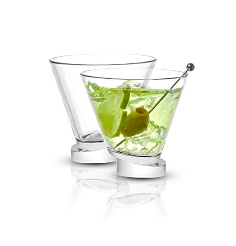 JoyJolt Aqua Vitae Martini Glass Set of 2. Crystal Glassware, Round Drinking Glasses with Off Set Base. Stemless Cocktail Glasses and Dessert Glasses. Unique Christmas Gifts