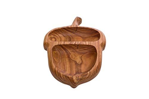 Snackschale aus Holz - Bowl Schüssel, Dekoration für Zuhause, Natürliches Material - Deko Schale in verschiedenen Formen, Obstschale aus Eschenholz (Nuss)