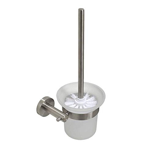 kaige WC-Bürsten der Wand befestigte Toilettenbürstenhalter mit Edelstahl-Konstruktion Intensivreinigung Toilettenbürste (Farbe: Klar, Größe: 11.5 * 14.5 * 33cm) WKY (Color : Clear)