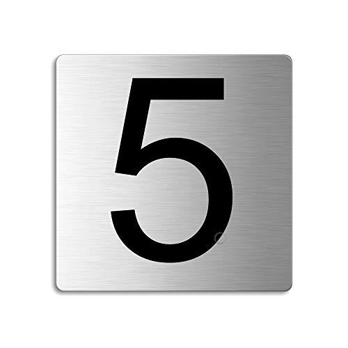 Plaque Numéro de porte 5 | 85x85 mm autocollant | acier inox brossé Nr.48305