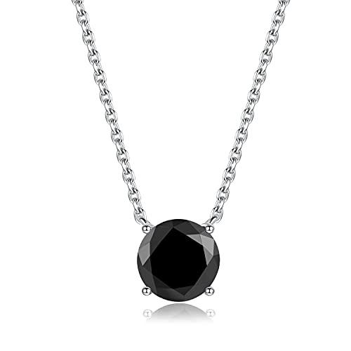Bo&Pao Collar para mujer de plata de ley 925 con circonita cúbica negra, collar con piedra, 45 cm, ajustable