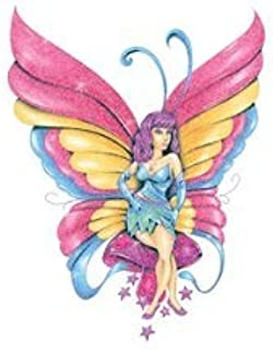 Sparkled Sugar Tattoos, 10 sheets, temporary tattoos, colorful and shimmery butterflies, rainbow, bird, fairy, fox, hot air balloon, and more