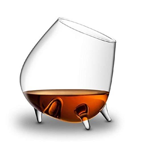 ZMK-720 Cristalería 3 Patas de Cristal Copa Vaso de coñac Par Decoración Recipientes aireador de Vino Utensilios de Regalo y Accesorios artesanales for el hogar y Bar #S888 (Color : Transparent)
