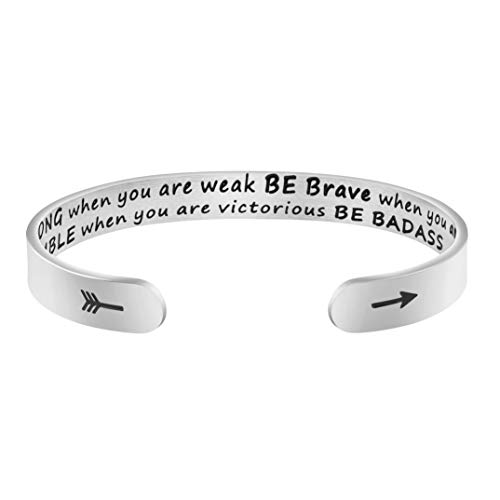 Joycuff Be Strong Be Brave Be Humble Be Badass Bracelet Inspirational Gift for Daughter
