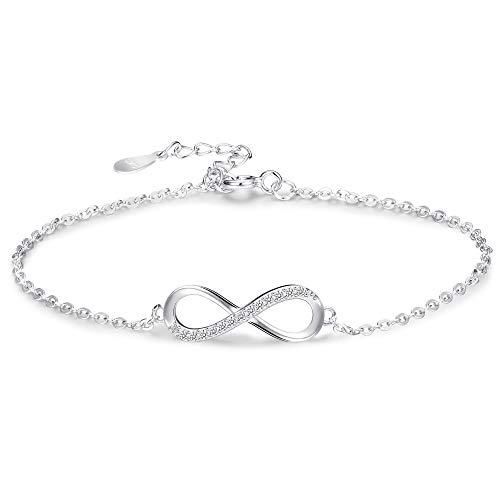 Sllaiss 925 Sterling Silver Infinity Love Bracelet for Women Infinity Endless Love Symbol Charm Adjustable Bracelet White Gold Plated