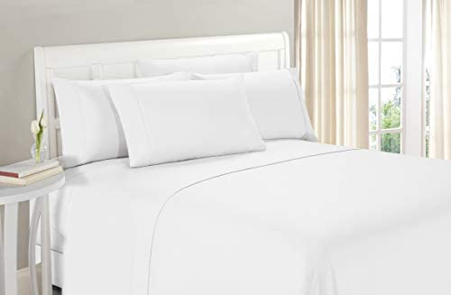 Amazon Com Luxury 750 Thread Count 100 Egyptian Cotton Bed Sheets 4 Pc Sheet Set Sustainable Eco Friendly Long Staple Yarns Sateen Weave Fits Mattress Upto 18 Deep Pocket White Solid King Home Kitchen