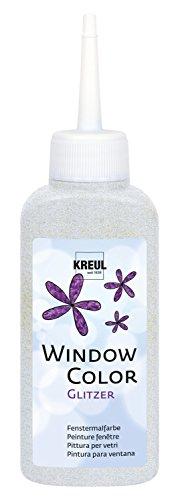 Kreul 42728 Peinture de fenêtre brillante à base d'eau pour surfaces lisses comme le verre, le miroir et le carrelage Argenté 80 ml