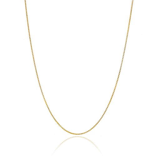 Bling For Your Buck 18K Gold Over Sterling Silver .8mm Thin Italian Box Chain Necklace - 20'