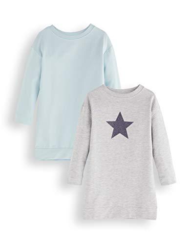 Amazon-Marke: RED WAGON Mädchen Pulloverkleid, 2er-Pack, Mehrfarbig (Blue and Grey), 104, Label:4 Years