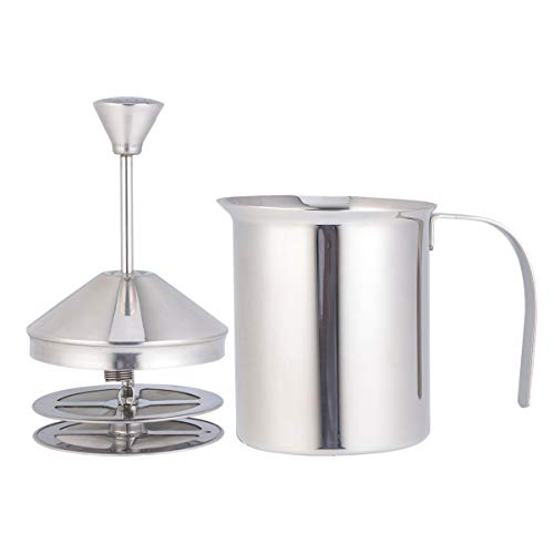 PIXNOR Manual Milk Creamer Hand Pump Frother Stainless Steel Cappuccino Latte Coffee Foam Pitcher with Handle