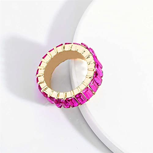 Zgoo Anillos geométricos de circón para Mujeres Anillo de Compromiso de Boda Hembra Anillo de Cristal de Oro Hembra Color Diamantes de imitación Anillos Moda