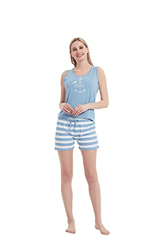 PimpamTex – Pijama de Verano para Mujer, Conjunto 2 Piezas Camiseta de Tirantas y Pantalón Corto, 100% Algodón Suave y Transpirable, Diseños Originales y Divertidos (L, Saranda índigo)