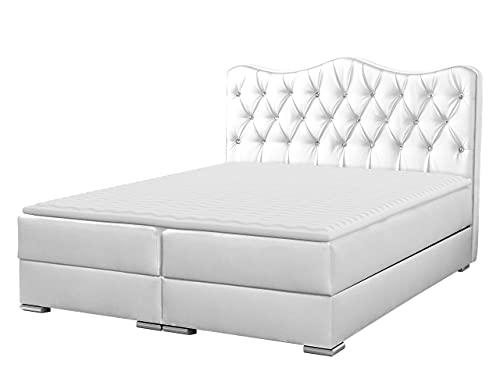 Boxspringbett Sultan Bettgestell Stilvoll Doppelbett Bett Schlafzimmer Bettkasten Lattenrost Matratze (180 x 200 cm, Soft 017)