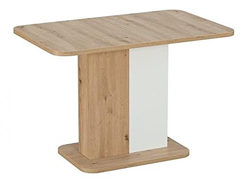 Mesa extensible de aglomerado, Next de roble y blanco, 110 x 145 x 68 x 75 cm
