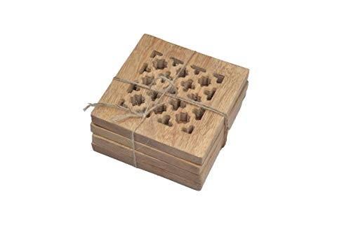 Mela Artisans Decorative Wooden Coasters with Holder, Set of 4 – Rustic Coasters for Drinks, Wine Glass, Coffee Cup, Soft Drinks, Water, or Beer - Wood Coasters in Natural Finish - Mango Wood