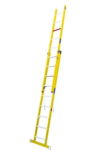 Escalera transformable de fibra de vidrio. Permite su uso en tijera y extensible. Según norma UNE-En 131 y 50528. (2 tramos x 9 peldaños)