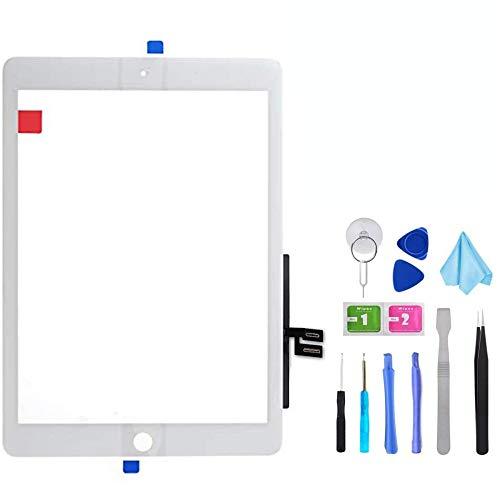 Tefir White Touch Screen Digitizer for iPad 7th Gen 2019 10.2'' A2197 A2198 A2200 Front Glass Replacement with Camera Bracket, Pre-Installed Adhesive, Toolkit (Without Home Button,not include LCD)
