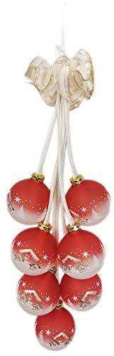 Ingbertson 19.139.72 Glaskugelgehänge 7-tlg. Kugelgehänge Glaskugelschmuck elektrisch beleuchtet Advent Weihnachten zur Dekoration Made in Germany (rot/weiß, 7-teilig)