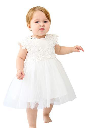Happy Cherry - Robe de Baptême Bébé Fille Fleurs Tulle Robe de Princesse Floral sans Manches Couches pour Mariage Cérémonie Soirée Anniversaire Blanc Âge 12-18 Mois