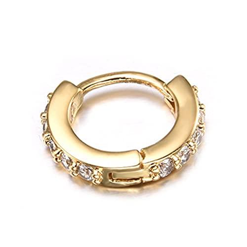 Ruby569y Pendientes colgantes para mujeres y niñas, pendientes de diamantes de imitación simples mini piercing aro Earlobe Tragus Circle para mujer – dorado 6 mm