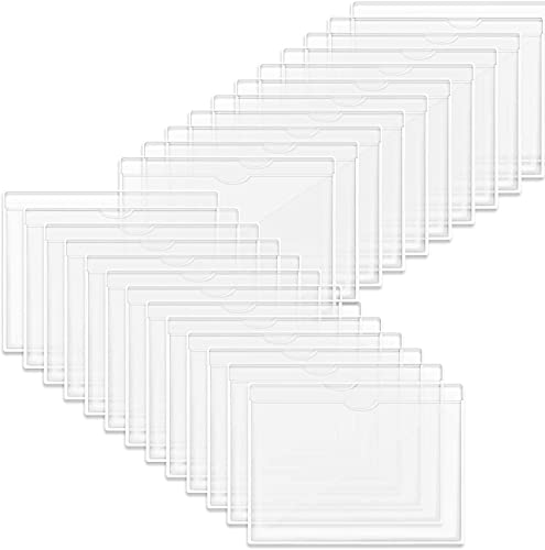 Alysontech Self-Adhesive Index Card Holder, 50 Pack Clear Plastic Library Card Pockets Label Holder with Top Open for Index Cards, Business Cards and Photos Organization and Protection
