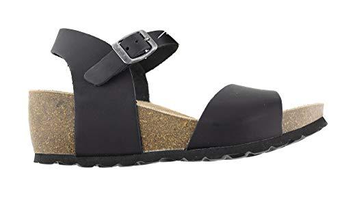 Sandalias de Verano para Mujer, Piel Sprinter Negro, Planta Bio Acolchada, tacón de 5.5 cm y Piso en Cuña, Nº 38. Temporada 2020, Fabricado en España. (Ref: 1519-negro 38)