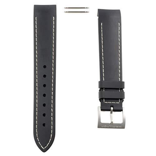 Correa Caucho Negro Pespunte Blanco Reloj Hamilton Khaki Air Chrono/Sub/King Scuba H600.745.100 20mm