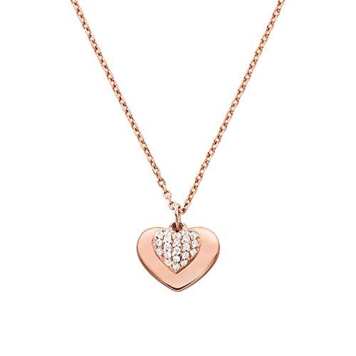 Michael Kors Love Collar de corazón con Cristales de pavé Chapado en Oro Rosa MKC1120AN791