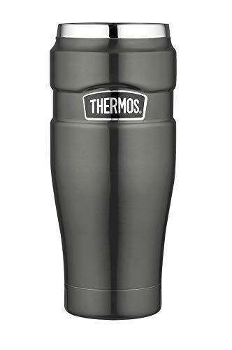 THERMOS Thermobecher Stainless King, Kaffeebecher to go Edelstahl grau 470ml, Isolierbecher spülmaschinenfest, dicht, 4002.218.047, Coffee to Go 7 Stunden heiß, 18 Stunden kalt, BPA-Free
