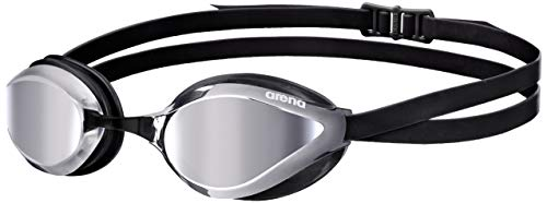 arena Unisex Training Wettkampf Schwimmbrille Python Mirror (Verspiegelt, UV-Schutz, Anti-Fog Beschichtung), silber (Silver-Black), One Size