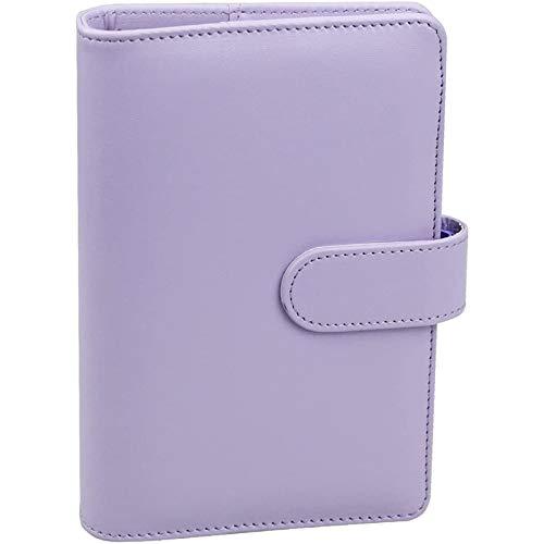 Ctzrzyt Carpeta de Cuaderno de Cuero PU A6 con Hebilla MagnéTica, Tapa de Carpeta de Anillo Redondo Recargable de 6 para Papel de Relleno A6, PúRpura Claro