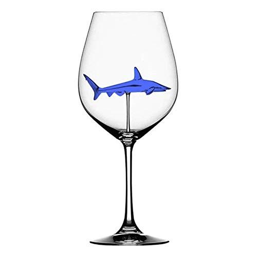 Copa de Vino, Copa de vino tinto creativa de 300 ml con tiburón interior de cristal de vino copas de vinoflutes botella de vidrio para uso en el hogar para la boda del partido (Color : L)