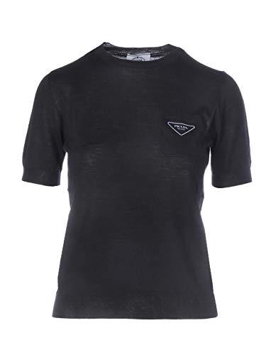 Luxury Fashion | Prada Dames P24V0LS2011V9PF0002 Zwart Wol T-shirts | Lente-zomer 20