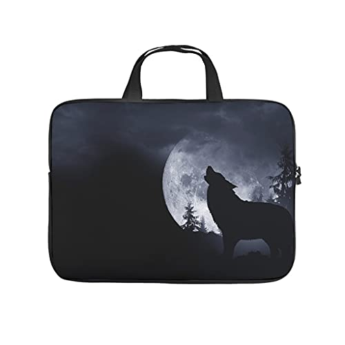 Howling Wolf and Full Moon Double-Sided Printed Laptop Bag Protective Case Dustproof Neoprene Laptop Bag Sleeve Case for Boyfriend Girlfriend