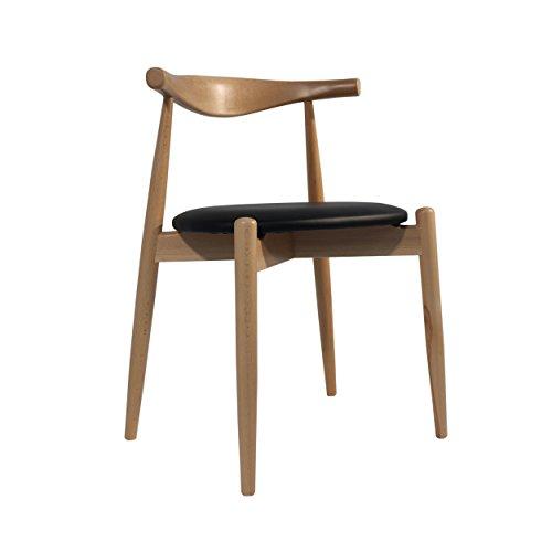 Oui Home - Silla Estilo CH20 - Estilo Elbow Chair de Carl Hansen Dan Asiento Negro