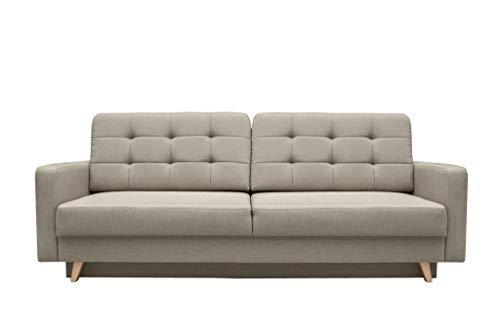 mb-moebel Schlafsofa Kippsofa Sofa mit Schlaffunktion Klappsofa Bettfunktion mit Bettkasten Couchgarnitur Couch Sofagarnitur - Carla (Beige)