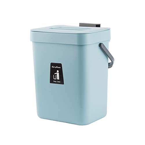 For Sale! KaryHome Hanging Small Trash Can with Lid Under Sink for Kitchen,Food Waste Bin,Kitchen Co...