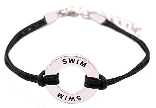 Lemegeton, braccialetto con ciondolo a forma di pallavolo, nuoto, pallanuoto e pallanuoto e Lega, colore: Placcato in argento anticato e nero.