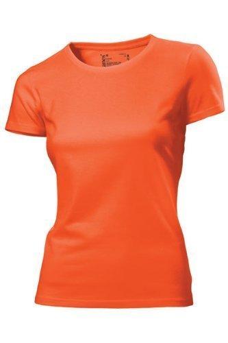 Hanes - T Shirt Femme Uni sans Etiquette Bio sans Logo Manche Courte Orange Orange 16