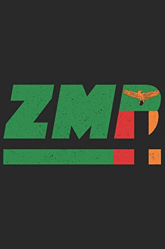 ZMB: Zambia notebook with lined 120 pages in white. College ruled memo book with the zambian flag