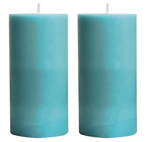 Turquoise Scented Pillar Teal Candles Set of 2-3x6 inch 100 Hours Ritual Prayer Candle Christmas New Year decoration