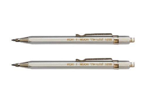 KOH-I-NOOR Fallbleistift No. 5228CL kurz Druckbleistift Metall 2er Set silber