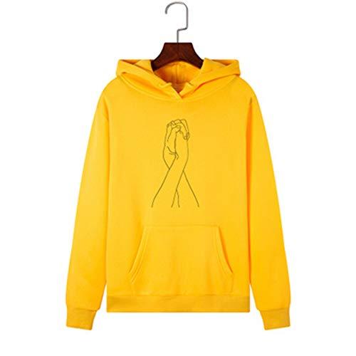HS-MANWEI Las Mujeres Impresas con Capucha De Mano para Estrechar La De Lana Suelta Suéter Encapuchado De La Chaqueta De La Manera Ocasional,Amarillo,XXL