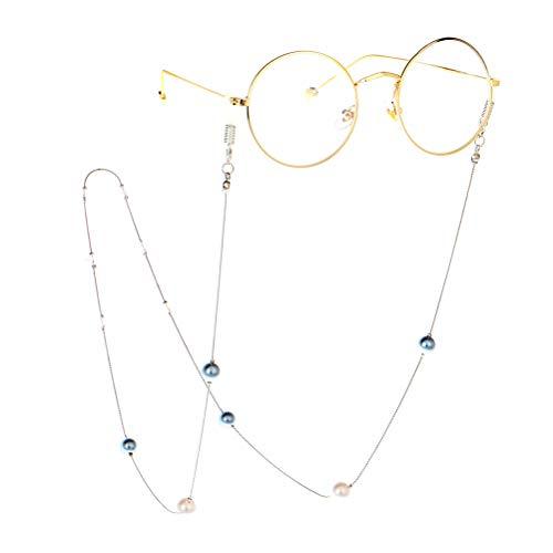 Fenical Pearl Eyeglass Ketting Lezen Bril Ketting Koorden Vrouwen Zonnebril Houder Band Lanyards (Silver)