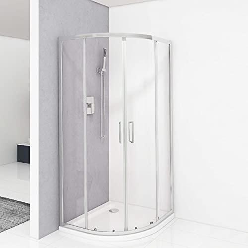 VILSTEIN Cabina de ducha de cuarto de círculo, 90 x 90, ducha redonda con puertas correderas, cristal de seguridad templado de 5 mm, asas de acero inoxidable en ambos lados, nano-sellado